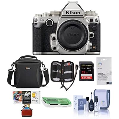 Nikon Df DSLR Body, Silver - Bundle with Camera Case, 32GB SDHC Card, Cleaning Kit, Screen Protector, Memory Wallet, Card Reader, Mac Software Package