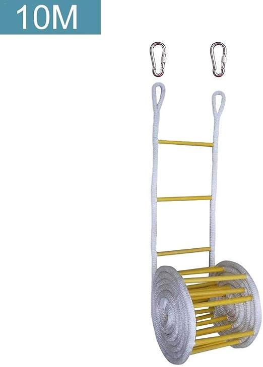 Kathariiy 10M Escalera de Cuerda de Emergencia Resistente al Fuego con Ganchos para Niños y Adultos Escape de la Ventana y el Balcón Conventional: Amazon.es: Hogar