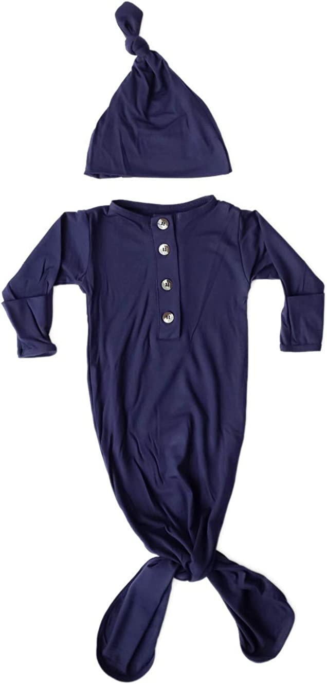 Newborn Knotted Baby Gown and Hat Set Navy Blue, Soft and Stretchy Sleep Gown 0-3 Months, Coming Home Outfit Boy