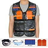 HONGCI Kids Tactical Vest Sets for Nerf Toy Guns N-strike Elite - Camouflage (comes with Seamless Skull Face Mask + Protective Goggles + 50pcs Blue Foam Darts + 2pcs 5-dart Quick Reload Clip)