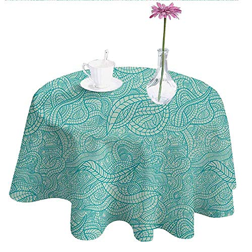 Aqua Easy Care Leakproof and Durable Tablecloth Vintage Botanic Nature Leaves Veins Swirls Ivy Mosaic Inspired Image Print Outdoor Picnic D40 Inch Turquoise and White
