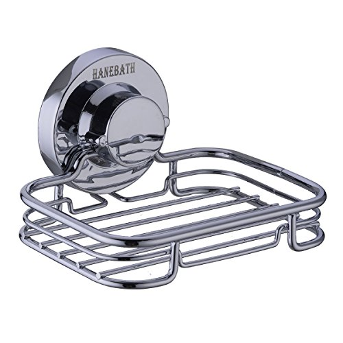 HANEBATH Suction Cup Soap Dish for Bathroom and Kitchen - Strong Stainless Steel ,Chrome