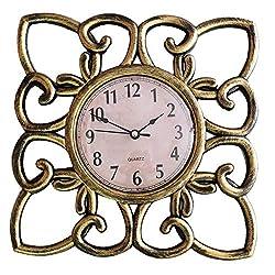 SUN-E 10 Inch Silent Non Ticking Modern Retro Wall Clock Decor Wall Clocks Decorative for Home,Office,Square Classic Perfect Wall Decoration (Copper)