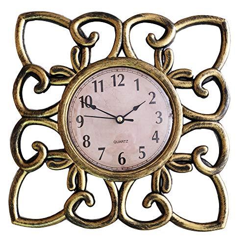 - SUN-E 10 Inch Silent Non Ticking Modern Retro Wall Clock Decor Wall Clocks Decorative for Home,Office,Square Classic Perfect Wall Decoration (Copper)