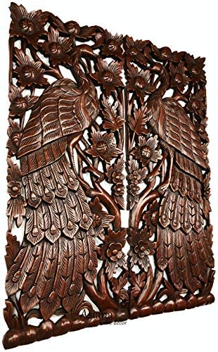 Peacock Wood Carved Wall Panel Size 35.5″x13.5″ Extra Thick
