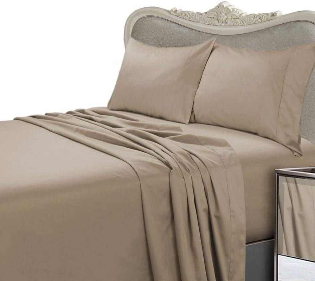 taupe Tula Linen 600/fils 4/pcs de draps 100/% coton /égyptien de qualit/é premium Coton Taille simple britannique