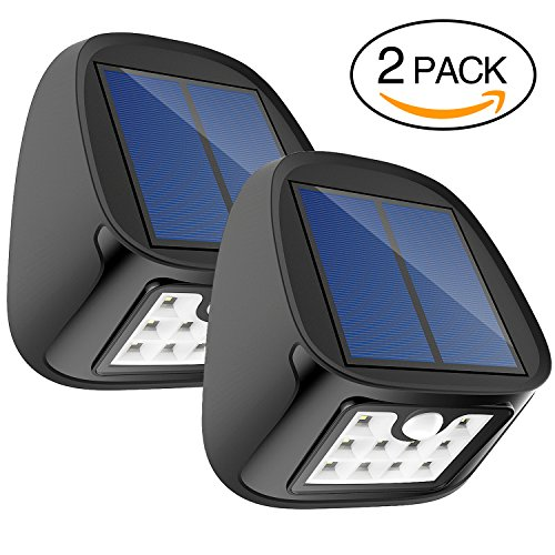 14' Three Light (Solar Motion Sensor Lights 10 LED Outdoor Waterproof Wall Light Wireless Security Night Light with 3 Modes for Driveway Garden Back Door Step Stair Fence Deck Yard Patio , Pack of 2)