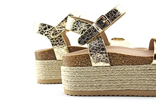 Modelisa - Sandalia Plataforma Alpargata Mujer Oro