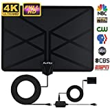 2018 NEWEST TV Antenna,Indoor Amplified Digital HDTV Antenna 80+ Mile Range with 4K 1080P HD VHF UHF Freeview TV for Life Local Channels Broadcast for All Types of Home Smart Television (Black)