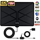 2018 NEWEST TV Antenna,Indoor Amplified Digital HDTV Antenna 80+ Mile Range with 4K 1080P HD VHF UHF Freeview TV for Life Local Channels Broadcast for All Types of Home Smart Television (Blakc)