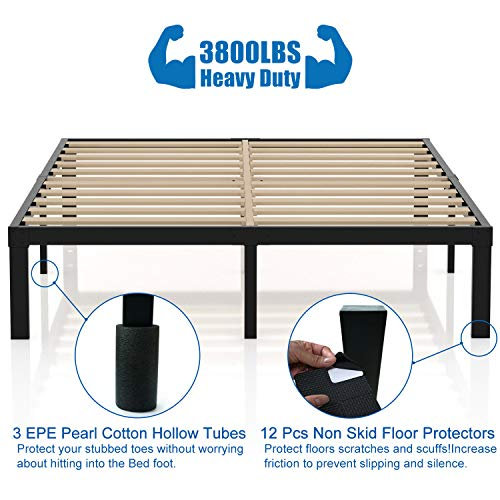 3800lbs Heavy Duty,14 Inch Steel & Wooden Slat Support Reinforced Platform Bed Frame,Mattress Foundation/No Box Spring Needed/Easy Assembly/Noise Free,Twin/Twin XL/Queen/King/California King (Full)