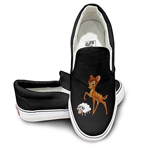 Deer God Costume (CAPA Unisex Fashion Shoes Deer Catch Sheep Flat Canvas Sneaker 37 Black)