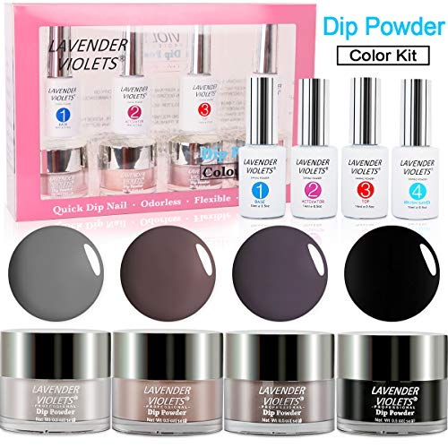 Dipping Powder Nails Color Kit of 4 Colored Acrylic Dip Nails Powders System No UV/LED Nail Lamp Needed J761]()