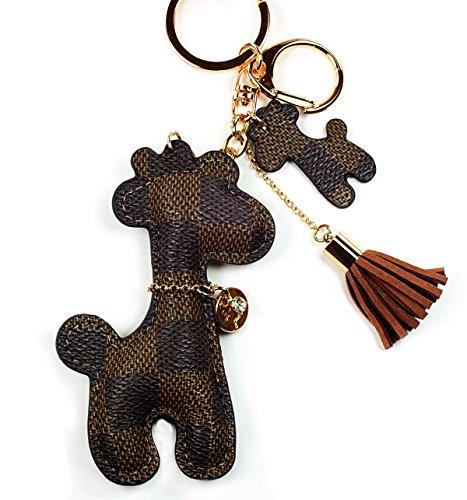 PU Leather Giraffe Baby Keychain Check Canvas Patten Textile Tassel Handbag Key Charm Ring Pendant Chain (Brown Giraffe)