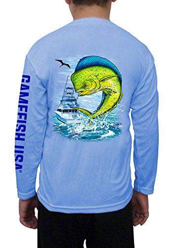 GAMEFISH USA Kid's UPF 50 Long Sleeve Microfiber Moisture Wicking Performance Fishing Shirt Mahi Large - Boys Shirt Micro