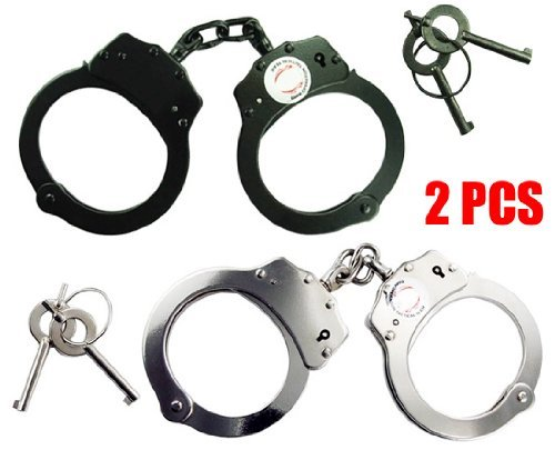 Set of 2pc Double Lock Police Official Nickel Plated Handcuffs Black & Silver by www.mysticalblades.com