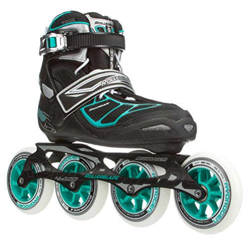 Rollerblade New 2015 TEMPEST W 100C Premium Fitness/Race Skate with 4x100mm Supreme Wheels - SG9 Bearings, Black/Blue, US Women's 7