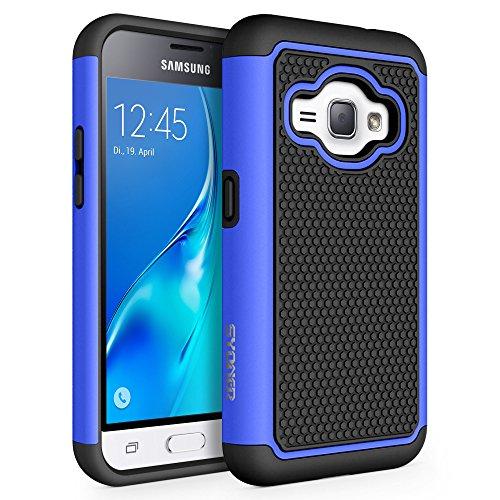 Galaxy Luna Case, Galaxy Amp 2 Case, Galaxy Express 3 Case, J1 2016 Case, SYONER [Shockproof] Defender Phone Case Cover for Samsung Galaxy J1 2016 / Amp 2 / Express 3 / Galaxy Luna [Blue/Black]