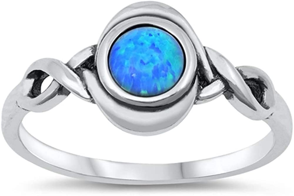 CloseoutWarehouse Blue Simulated Opal Center Braided Sides Ring Sterling Silver
