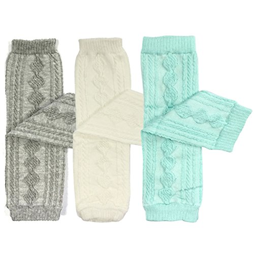 (Bowbear Set of 3 Leg Warmers Argyle Grey & White and Sky Blue)