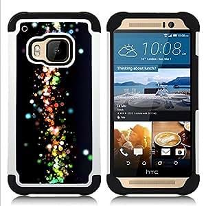 - Neon Dots Space Galaxy Colors/ H??brido 3in1 Deluxe Impreso duro Soft Alto Impacto caja de la armadura Defender - SHIMIN CAO - For HTC ONE M9