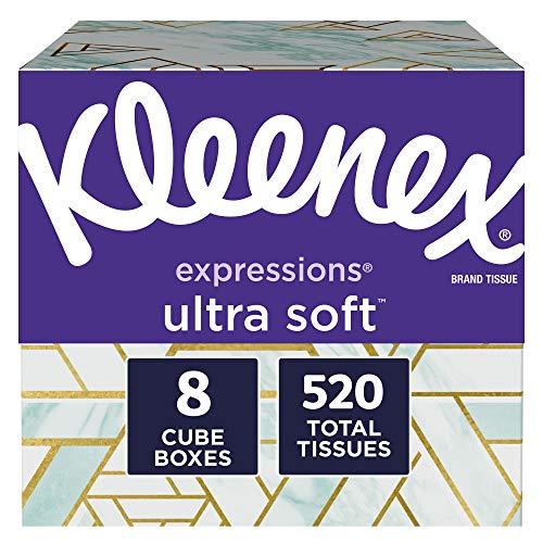 Kleenex Expressions Ultra Soft Facial Tissues, 8 Cube Boxes, 65 Tissues per Box (520 Tissues Total)