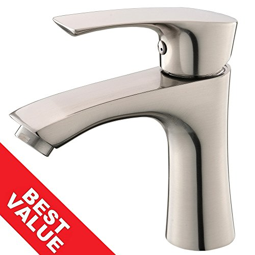 Single Hole Faucet (KINGO HOME Contemporary Stainless Steel Single Hole Lavatory Single Handle Brushed Nickel Bathroom Faucet,Hot and Cold Water Vanity)