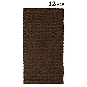 Cotton Craft - 12 Pack Chocolate EuroCafe Waffle Weave Terry Kitchen Towels 16x28, 100% Ringspun 2 Ply Cotton Highly Absorbent Low Lint, Professional Grade 400 Grams, Multi Purpose Bar Mops Hand Towel