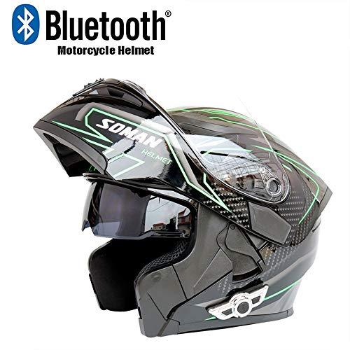 Initial Motorcycle Bluetooth Helmet, Impact Resistant High Toughness Travel/Anti-Fog Double Lens Open Face Helmet Full Face Helmet DOT Certification,Green,XL