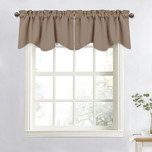 NICETOWN Blackout Valances Short Curtains - W52-inch by 18-inch Half Window Drapes for Basement with Rod Pocket (Tan=Capuccino, 2 Panels Per Package)