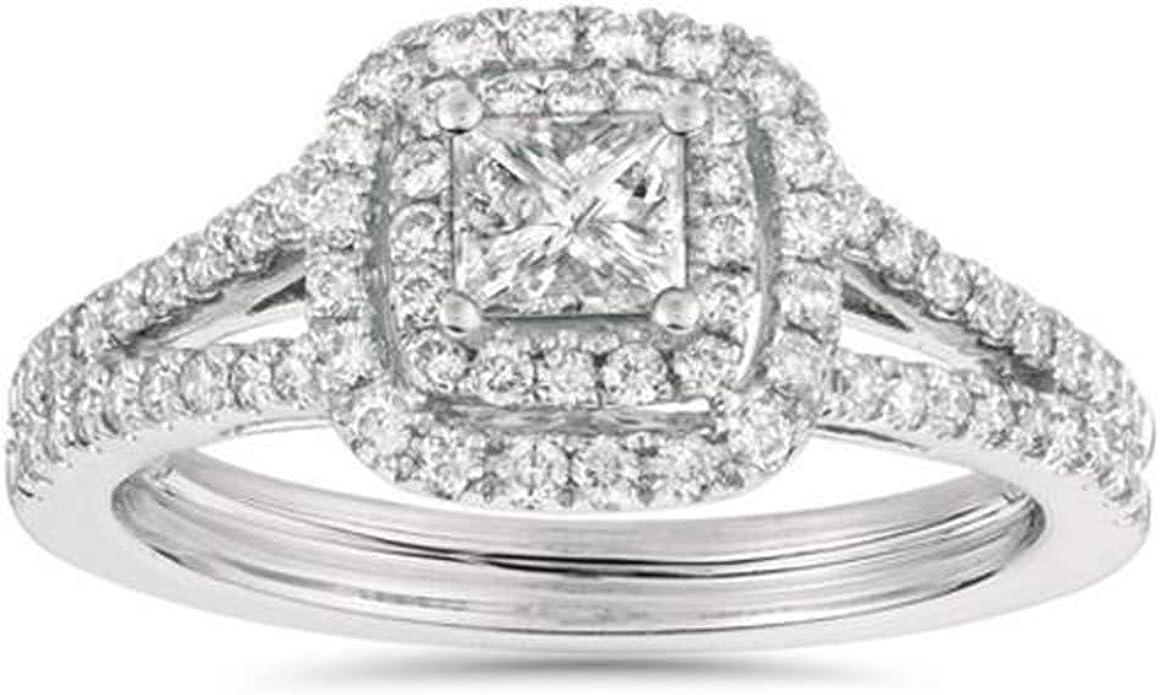 1ct Princess Cut Diamond Double Halo Engagement Ring 14k White Gold Amazon Com