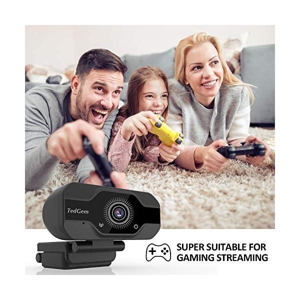 TedGem Webcam, Full HD 4K/1080P PC Webcam Camera con Microfono USB Live Streaming Webcam per Videochiamate e… 5 spesavip