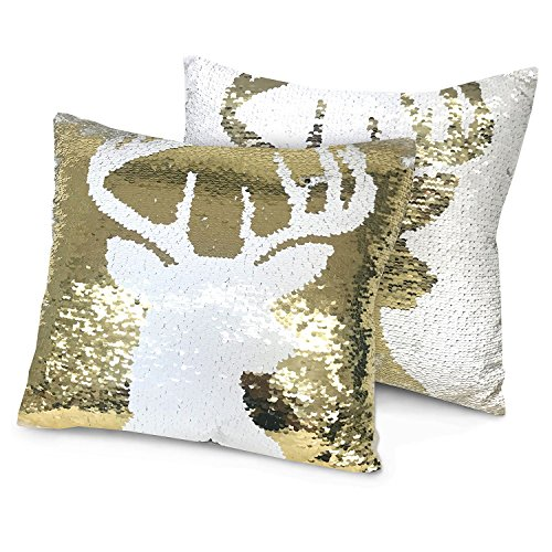 Holiday Reindeer Reversible Sequin Pillow: Gold White Two Color Changing Glitter Decorative Dorm Bedroom Home Decor