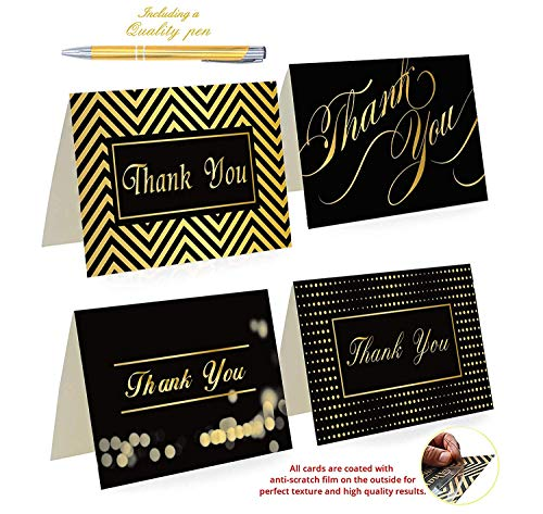 """100 Thank You Cards By Office 247- Luxury Card Set of 4 Black & Gold Designs. Thank You Cards Bulk with Envelopes & Stickers – Blank Inside, 4"""" x 6"""" Thank You Notes for your Wedding, Business & More"""
