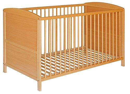 Best For Kids Gitterbett 2 in 1 Patrick 70x140 cm mit Matratze 10 cm Juniorbett Kinderbett Babybett in zwei Farben (Natur)