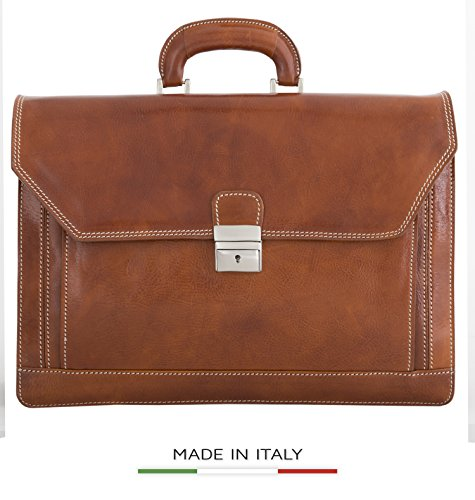 Luggage Depot USA, LLC Men's Alberto Bellucci Italian Leather Triple Compartment Laptop Briefcase, Honey, One Size by Luggage Depot USA, LLC