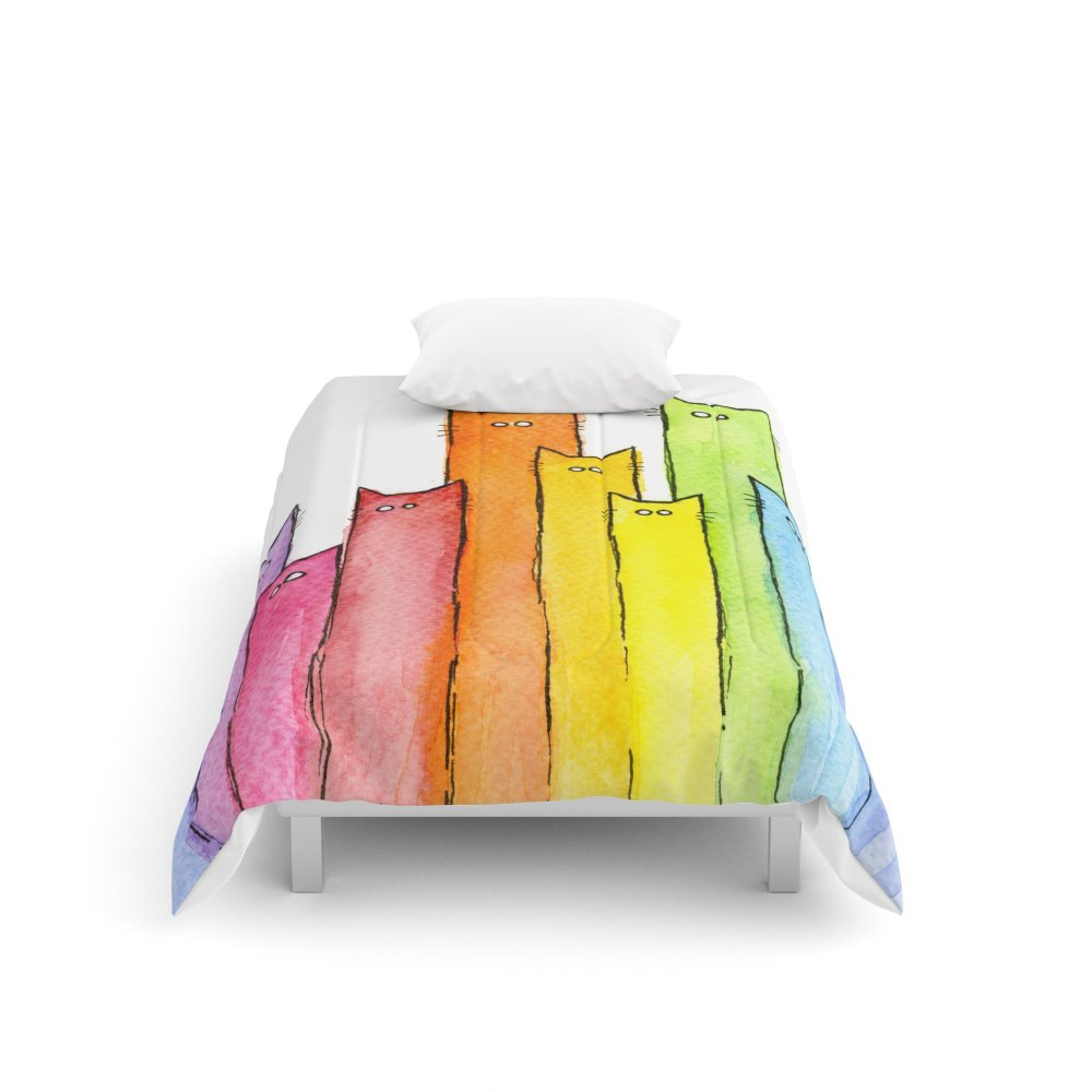 Society6 Rainbow of Cats Funny Whimsical Colorful Cat Animals Comforters Twin XL: 68'' x 92''