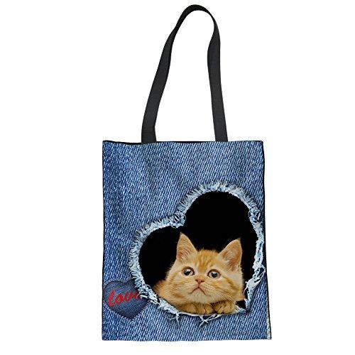 Cat Handbags Bags College Tote Color Canvas Casual Lightweight Tote Diaper Bag Print for Advocator 7 Shopper fwXqOnUUd