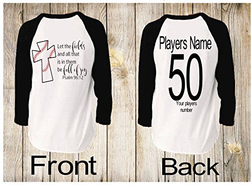 Handmade in America Personalized Unisex Raglan Baseball shirts for Moms Dads and Siblings Let the Fields all that is in them Full of Joy Psalm - Raglan Field