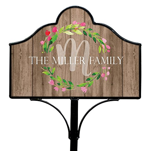 - GiftsForYouNow Family Wreath Personalized Magnetic Yard Sign Set