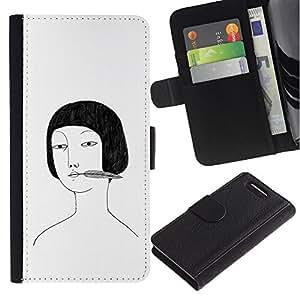 Planetar® Modelo colorido cuero carpeta tirón caso cubierta piel Holster Funda protección Sony Xperia Z1 Compact D5503 ( Asian Girl Portrait Drawing White Black )