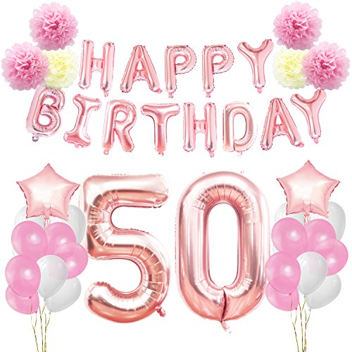 KUNGYO 50th Birthday Decorations Kit-Rose Gold Happy Birthday Banner- Giant Number 50 and Star Helium Foil Balloons, Ribbons, Paper Pom Flowers, Latex Balloons, Elegant Party Supplies for Girl