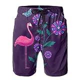 Adults Purple Flamingo Butterfly Flower Fishing Shorts Elastic Waist Quick Dry Board Shorts