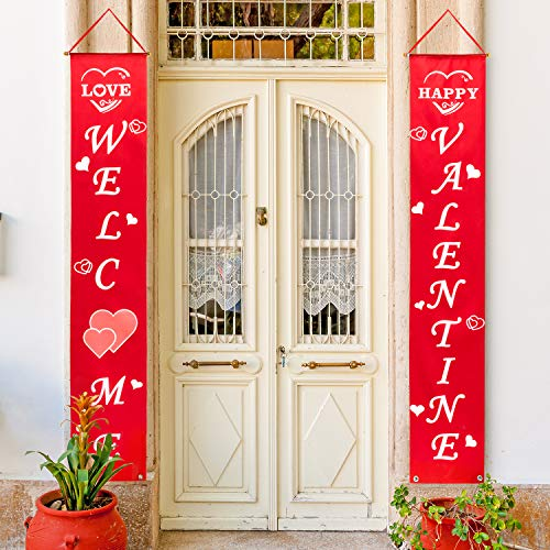 Whaline Valentines Sign Valentines Day House Flag Heart