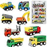 Buyger 8 Pcs Mini Plastic Pull-back Go Cars Push Vehicles Model Toys Construction Team Playset Kids Age 3+ (Color Random)