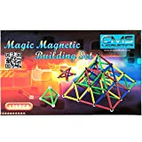 CMS Magnetics 126 Piece Magnetic Building Set with 96 Magnet Sticks and 30 Steel Balls - Brain Toys, Family Fun for all Ages