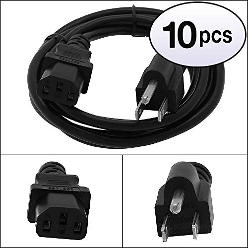 GOWOS (10 Pack) 15Ft Computer Power Cord 5-15P to C13 Black SVT 18/3