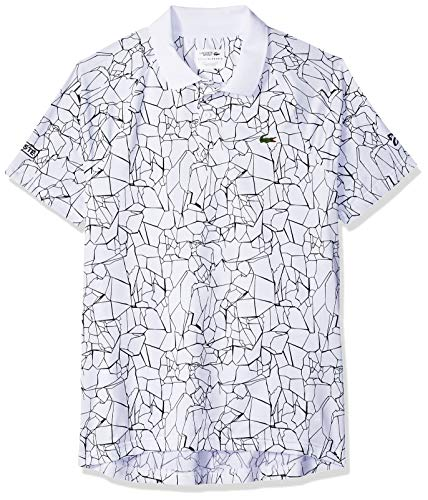 Lacoste Men's Novak Short Sleeve Ultra Dry Net Print Polo, W