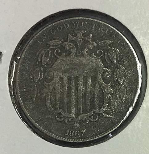 1867 Shield Nickel No Rays Average Circulated 5c G-VG