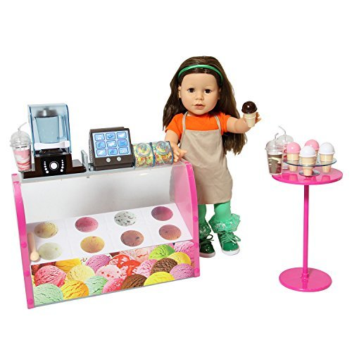 Doll Ice Cream Set - Complete Doll Electronic Ice Cream Parlor - Fits All 18 inch Dolls (American Girl Doll Parlor)